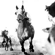 Seabiscuit leaving War Admiral in the dust in the famous 1938 match race.